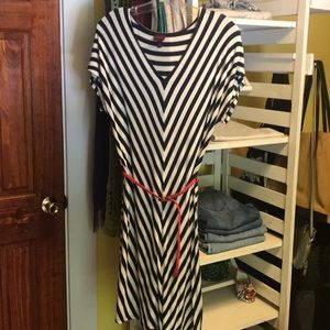 Navy and White Striped Dress with Red Belt Women's